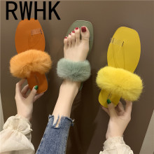 RWHK 2019 summer new Korean candy color slippers women wear flat toe sandals B147