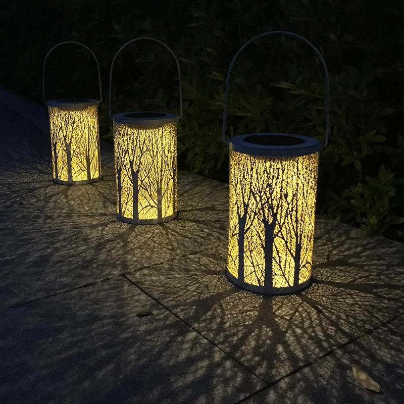 Waterproof Antique Solar Light Flower Lantern Outdoor Garden Lamp LED Decor Landscape Lawn Hanging Lamp Energy Saving Lighting