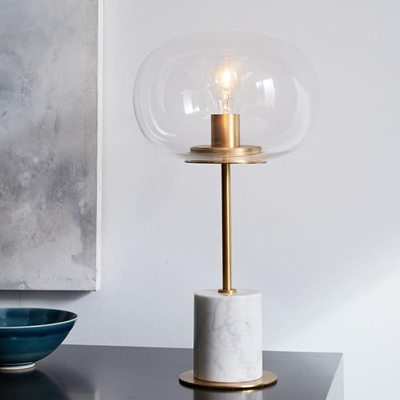 Nordic LED Table Lights Glass Lamps Living Room Backdrop Hotel Aisle Desk Bedroom Bedside Lighting Fixtures