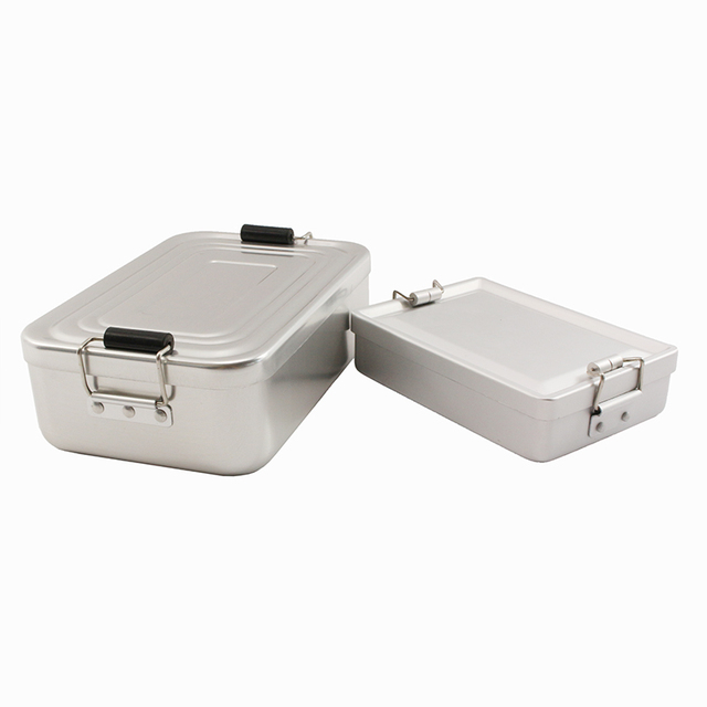 PSKOOK Aluminum Alloy Camping Lunch Box Water-Resistant Outdoor Food Container with Double-ear Buckles Tableware