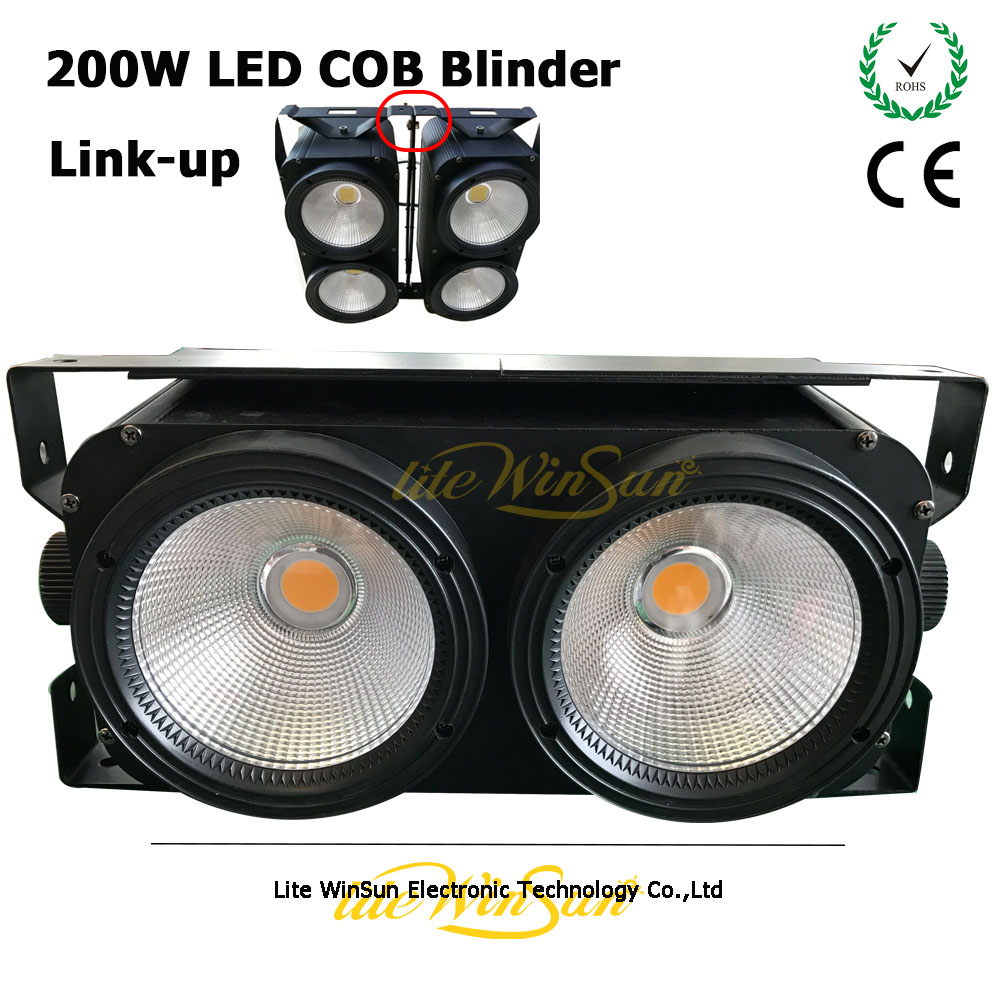 Litewinsune Free Ship Flight Case 6PCS Linkable Blinder LED COB 200W Stage Studio Fashion Show Lighting DMX512 Console show plaza light stage blinder auditoria light ww plus cw 2in1 cob lamp 200w spliced type for stage