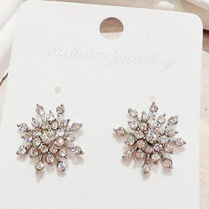 2017 New Ladies Crystal Snowflake Bijoux Statement Stud Earrings For Women Earring Fashion Jewelry Free Shipping ED385