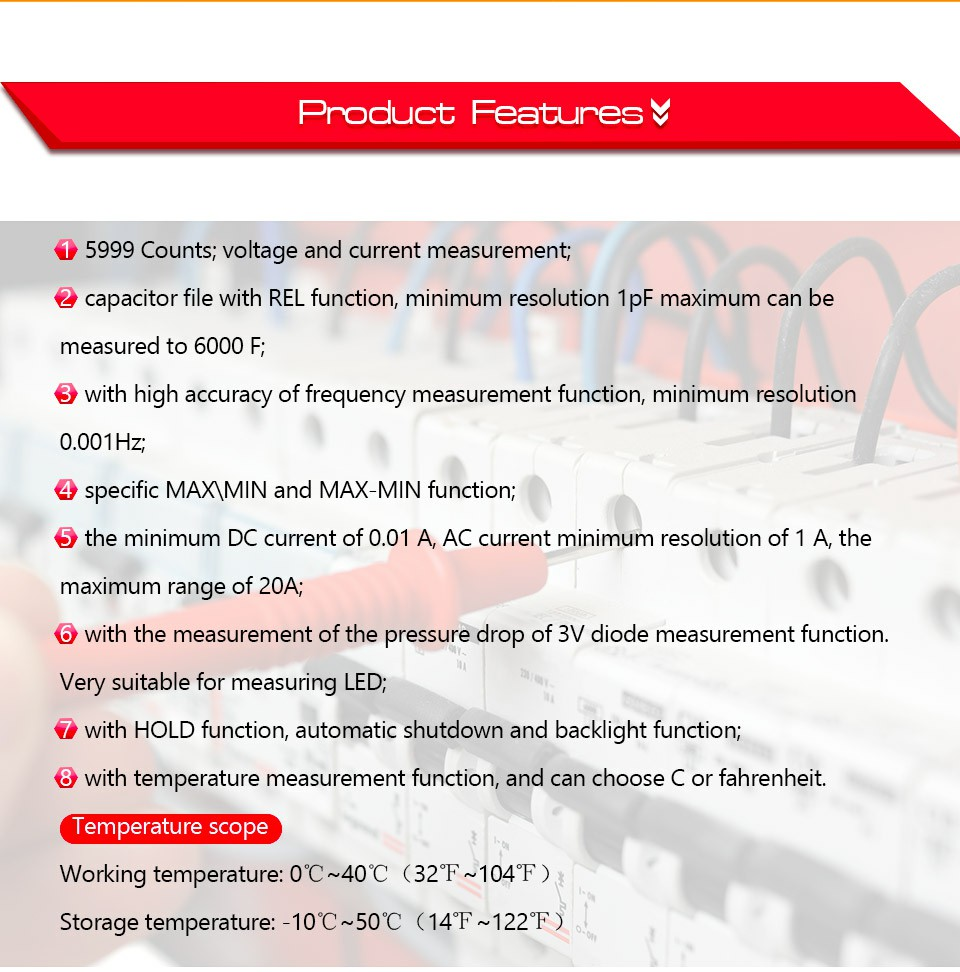 True RMS AC DC Digital Multimeter Tester