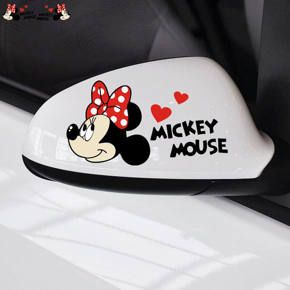 Aliauto 2 x cute cartoon mickey mouse car rearview sticker and dceal for renault ford focus peugeot 206 307 mercedes toyota
