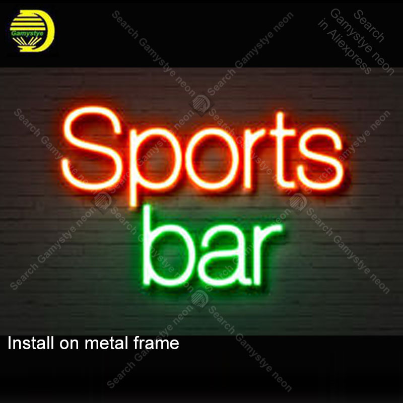 NEON SIGN For Sports Bar NEON Bulbs Lamp GLASS Tube Decorate Wall Club Beer Bar ROOM Beer BarHandcraft Advertise shop 14X8 INCH
