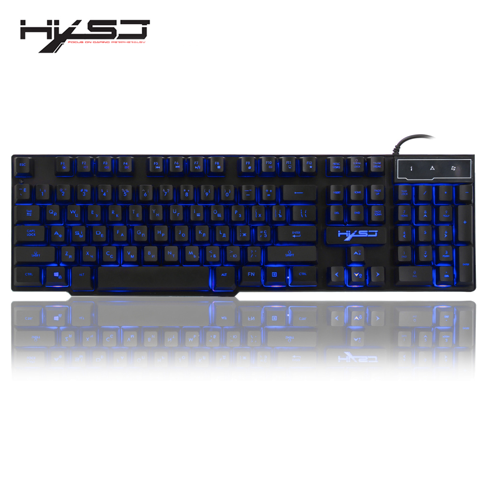 HXSJ R8 Russian/English USB Wired Gaming Keyboard Floating LED 3 color Backlit Keyboard with Similar Mechanical Feel For Teclado alexika comfort olive 9361 7507