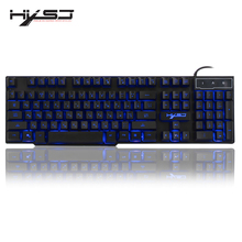 HXSJ R8 Russian/English USB Wired Gaming Keyboard Floating LED 3 color Backlit Keyboard with Similar Mechanical Feel For Teclado цена и фото