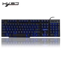 HXSJ R8 รัสเซีย/ภาษาอังกฤษ USB คีย์บอร์ดลอย LED 3 สี Backlit แป้นพิมพ์คำรู้สึกสำหรับ teclado