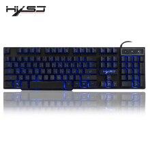 HXSJ R8 الروسية/الإنجليزية USB السلكية الألعاب لوحة المفاتيح العائمة LED 3 اللون الخلفية لوحة المفاتيح مع يشعر الميكانيكية مماثلة ل Teclado