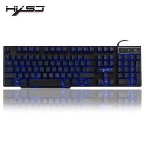 Image 1 - HXSJ R8 רוסית/אנגלית Wired USB צף LED 3 צבע עם תאורה אחורית מקלדת עם דומה מכאני מרגיש עבור teclado