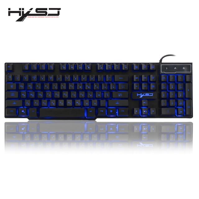 HXSJ R8 רוסית/אנגלית Wired USB צף LED 3 צבע עם תאורה אחורית מקלדת עם דומה מכאני מרגיש עבור teclado