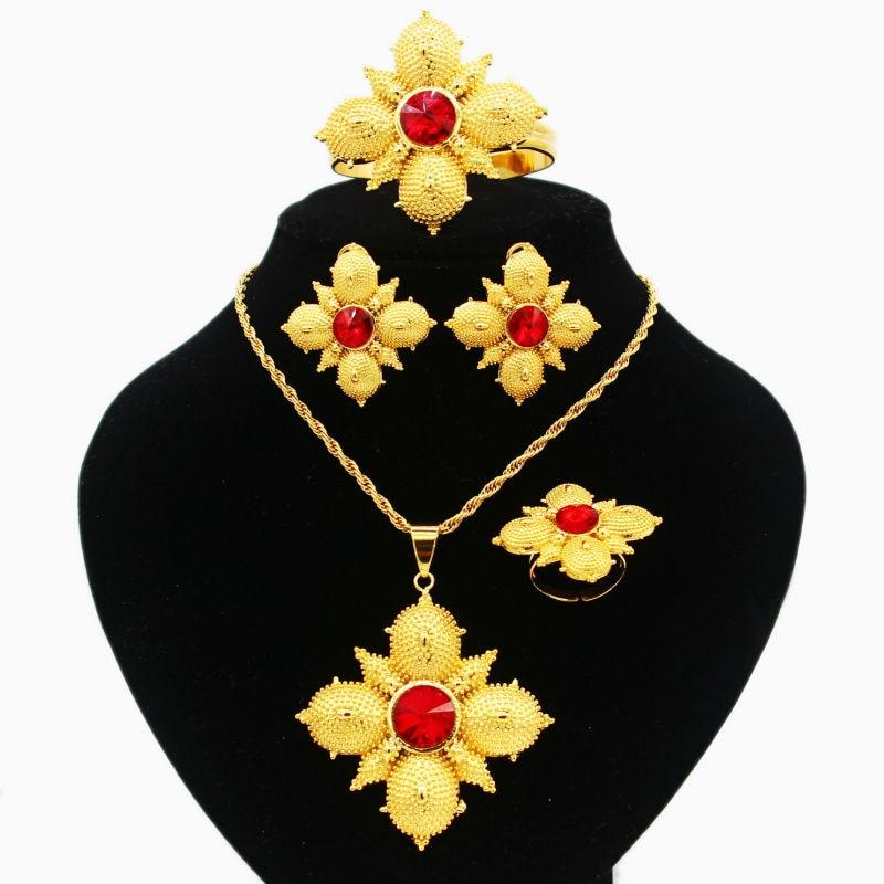 23dee7b7ed83 Cruz etíope joyería 24 K oro color cristal  collar pendiente brazalete anillo Mediados de Pascua  India habesha set de  boda