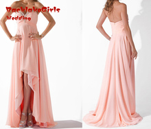 Evening Dress 2017 Plus Size Pink Elegant Chiffon Short Front Long Back Formal Gowns With Beading Custom Made Dresses
