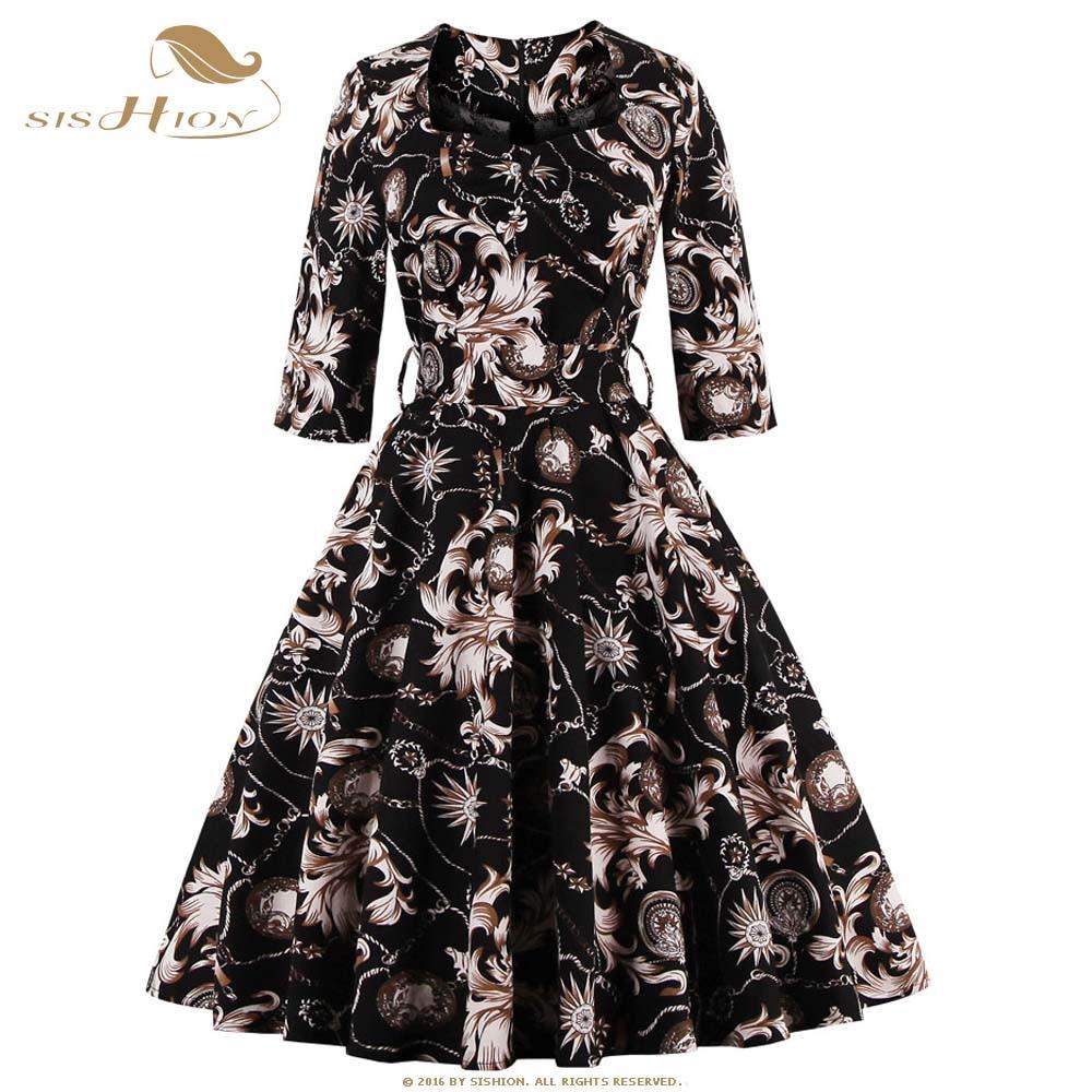 608ce4ac50c6aa SISHION Floral Print Women Dress 2017 Half Sleeve Retro Swing Vintage S 4XL  Plus Size Spring Summer Dress Tunic Vestidos VD0416-in Dresses from Women s  ...