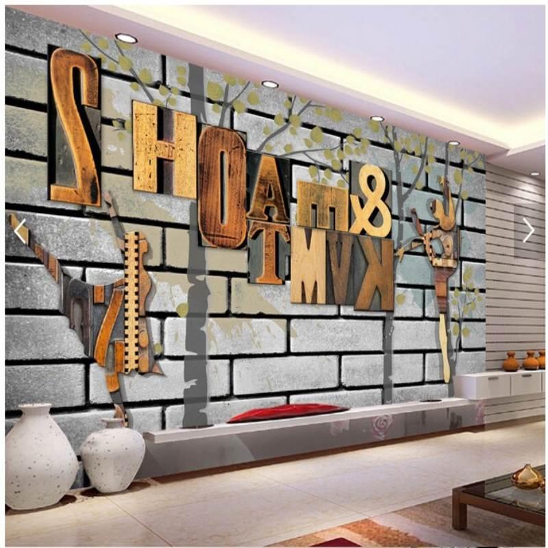 Peintures murales personnalisées à grande échelle européenne rétro abstrait alphabet fond papier peint salle de danse chambre fond papier peint