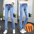 Warm Jeans Women Thicken Fleece Pants  Woman Winter Female Stretch Straight Fashion High Waist Velvet Femme Denim Long Trousers