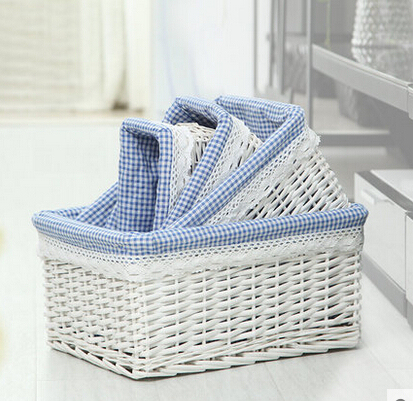 4PCS/PACK  willow storage box organizer home decoration household sundries storage box bins grocery basket  square box