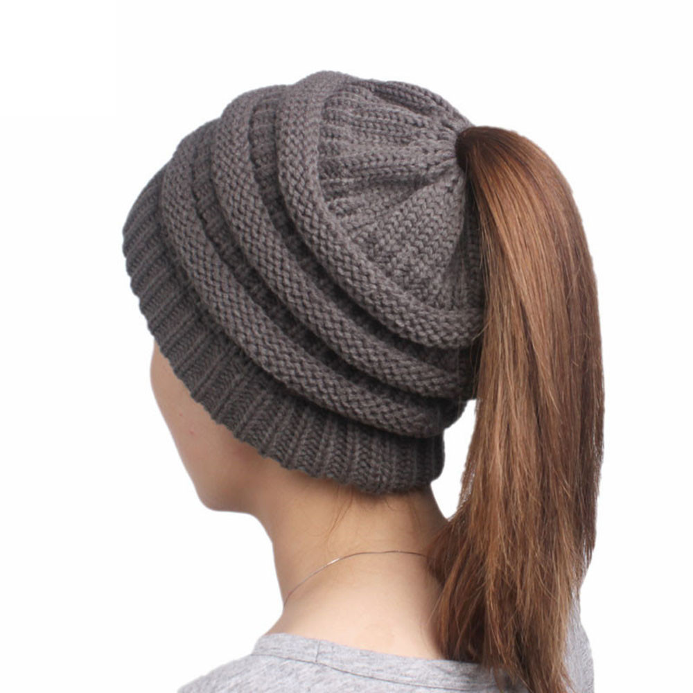 Women Winter Warm Hat Beanie Turban Head Wrap Knitted Hat Handmade With Tie Hair  Hole Braid ja30ja5-in Hiking Caps from Sports   Entertainment on ... 852e0d5beae