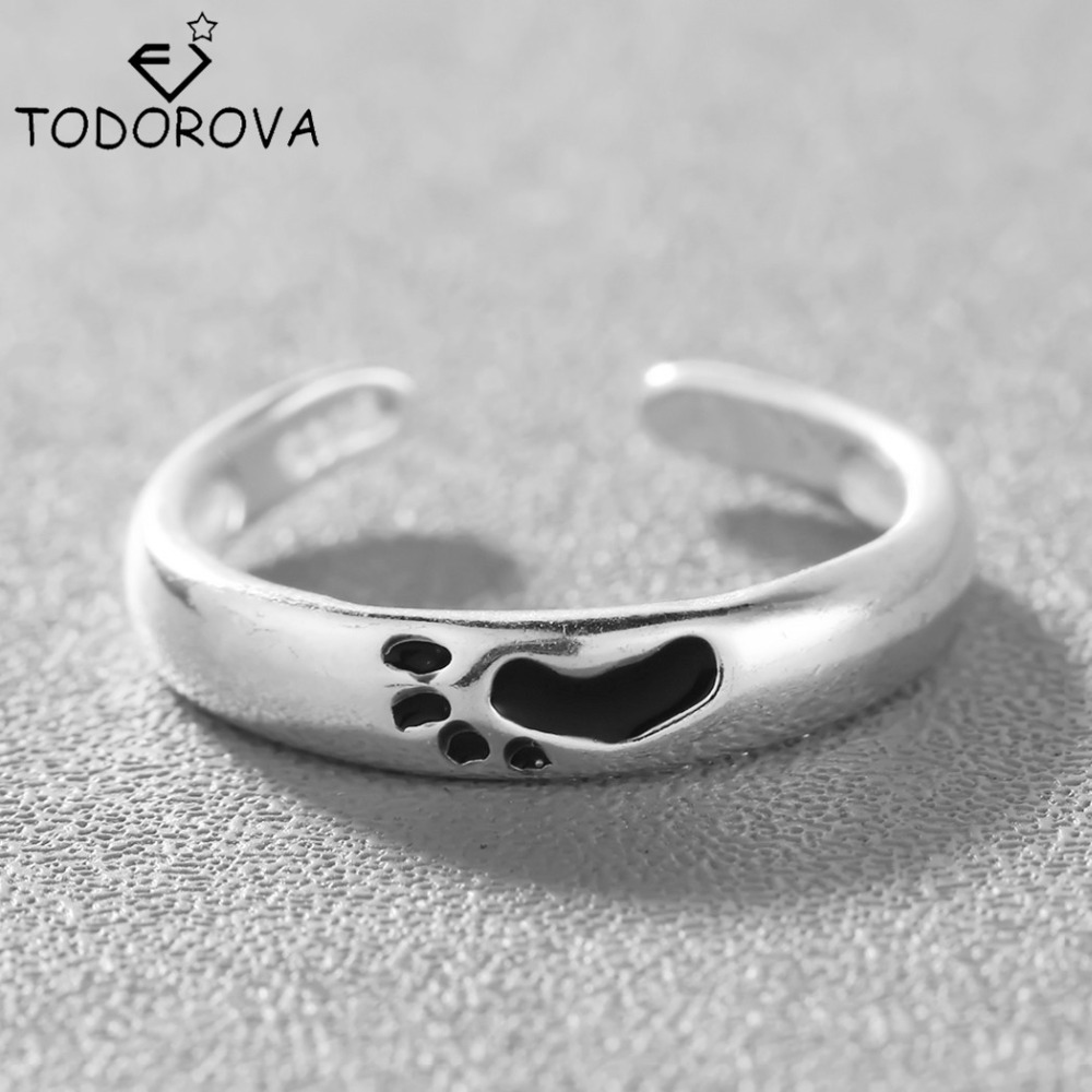 Todorova 925 Sterling Silver Rings For Men Women Cute Black Footprints Open Rings  Hypoallergenic Sterling