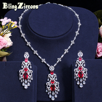 BlingZircons Gorgeous Bridal Wedding Jewellery Red Cubic Zirconia Paved Setting Large Long Dangling Earrings Necklace Sets JS009