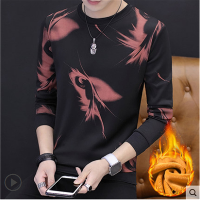 Youth winter warm underwear men's plus velvet thick autumn clothes men's slim shirt bottoming t shirt can be worn