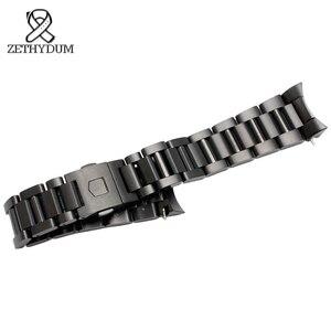 Image 5 - Bracelet de montre en acier inoxydable solide 22mm hommes montres marque supérieure de luxe argent bracelet noir remplacement en acier bracelets de montre en argent