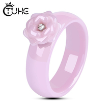 Cute Rings Jewelry With Pink Flower One Bling Crystal Full Ceramic Never Fade Healthy Material Wedding Gift
