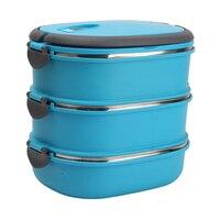Aislamiento Térmico Caja de Almuerzo Contenedor de Almacenamiento de Alimentos de Acero Inoxidable Portátil Caja de Bento Con Mango, 3 Capas Azul
