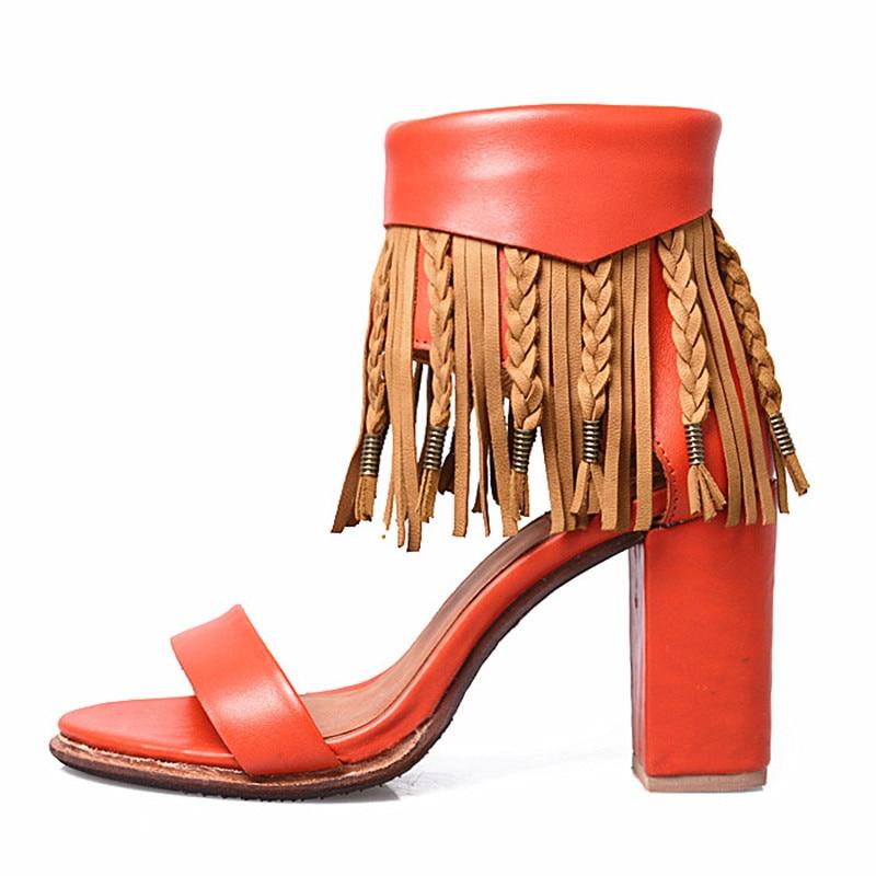 Perfetto Évider Fring Mixte À Dame Sexy Orange Super Chaussures Ouvert Femmes Glands blue Sandale Haute Doux Prova Talon Nouvelle Cheville Bout Couleur dTxqAdfW