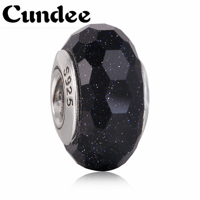 Midnight Blue Faceted Murano Glass Charm 925 Sterling Silver Murano Glass Beads Fit Europe Bracelets Diy Jewelry Making