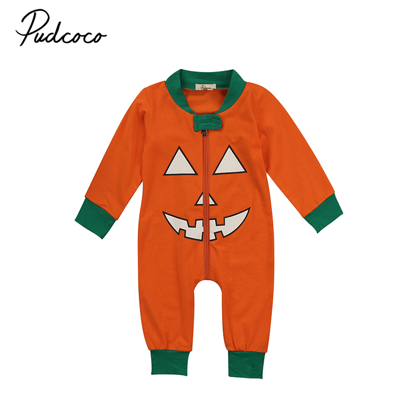 2017 Halloween Romper Newborn Baby Boy Girl Long Sleeve Zipper Pumpkin Clothes Toddler Kids Jumpsuit One Pieces Outfits 0-24M