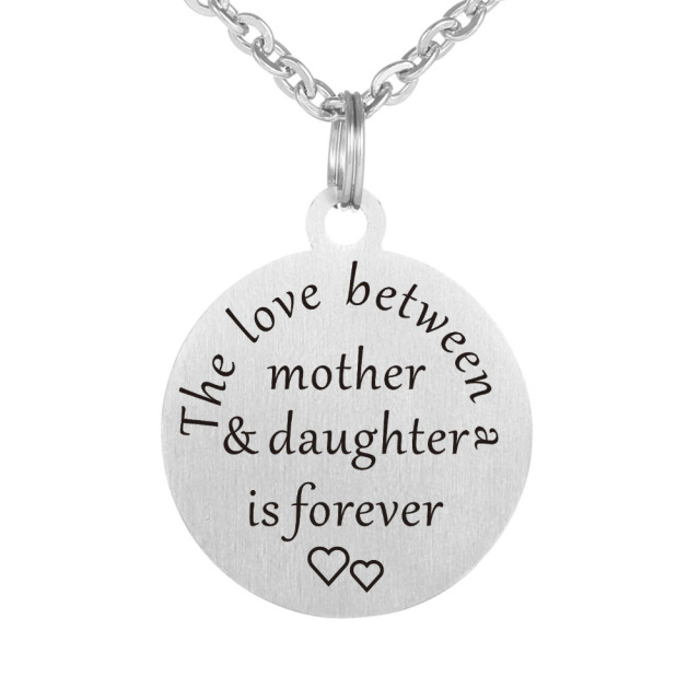 The love between mother daughter is forever stainless steel the love between mother daughter is forever stainless steel inspirational quotes hand stamped pendants necklaces for mozeypictures Gallery