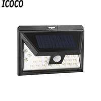 ICOCO Waterproof 24 LEDs 3 Modes PIR Induction Motion Sensor LED Wide Angle Design Solar Lamp