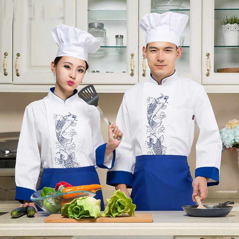 Long Sleeve Hotel Chef s font b Jacket b font Winter Autumn Fish Restaurant Kitchen Chef