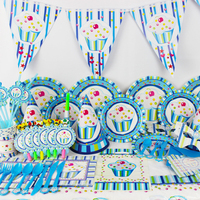 90pcs Ice Cream Birthday Decoration Disposable Tableware Set Theme 6 People Activities Party Supplies Children Cartoon