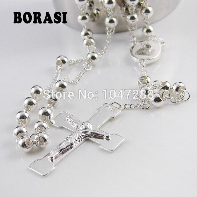 7533d09e5480 Joyería de moda 6mm plata Rosario Cruz colgante collar para mujeres y  hombres