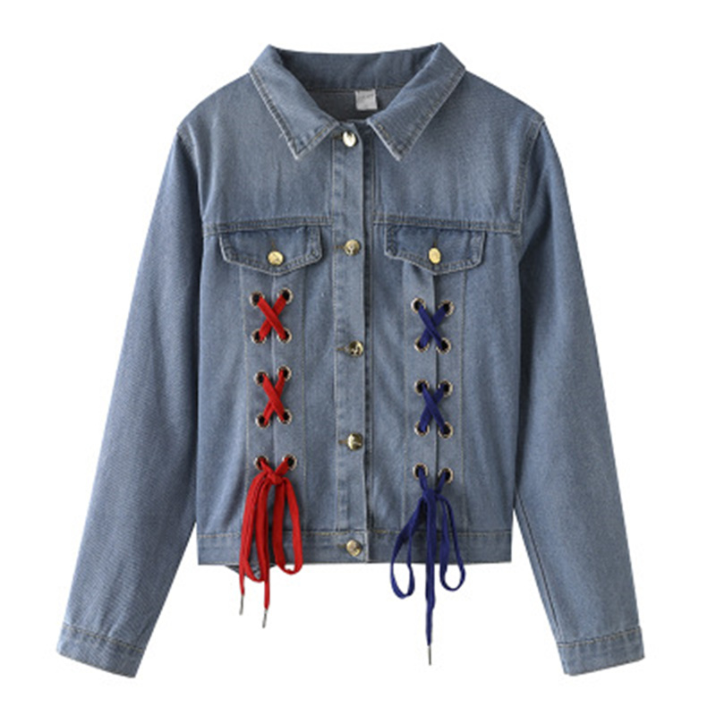 Lâche Revers Jean Printemps Denim Manteau Femmes Style 2018 Veste Harajuku Bf Imprimé Vestes Dentelle Lettre Court Femme Bleu Jeans Up wUq8AKSz4A