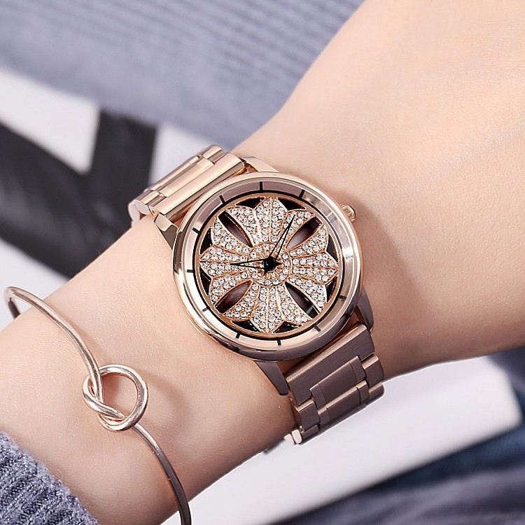 цена на GUOU Luxury Lady Crystal Rotation Watch Women Stainless Steel Dress Watches 2018 Fashion Rose Gold Female Quartz Wristwatches