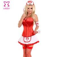 Rood/Wit Naughty Sexy Verpleegster Kostuum Plus Size Vrouw Volwassen Kostuums Carnaval Halloween Cosplay Uniform Artsen Fancy Dress 2016