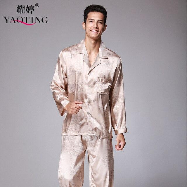 2 Pcs New Mens de Cetim de Seda Pijamas Pijama Estabelecidos Homens Da Moda Sleepwear Noite Vestido de Pijama Sleepwear Camisola Para O Sexo Masculino TZ066