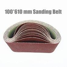 "10Pcs 100*610 mm Sanding Belt 4""*24"" Abrasive Band 100*610mm Aluminium Oxid For Wood (Grit 36 40 60 80 100 120 180 240 320 400)"