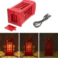 Energy Saving Retro London Telephone Booth Night Light USB Battery Dual Use LED Bedside Table Lamp