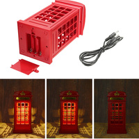 Energy Saving Retro London Telephone Booth Night Light USB Battery Dual Use LED Bedside Table Lamp