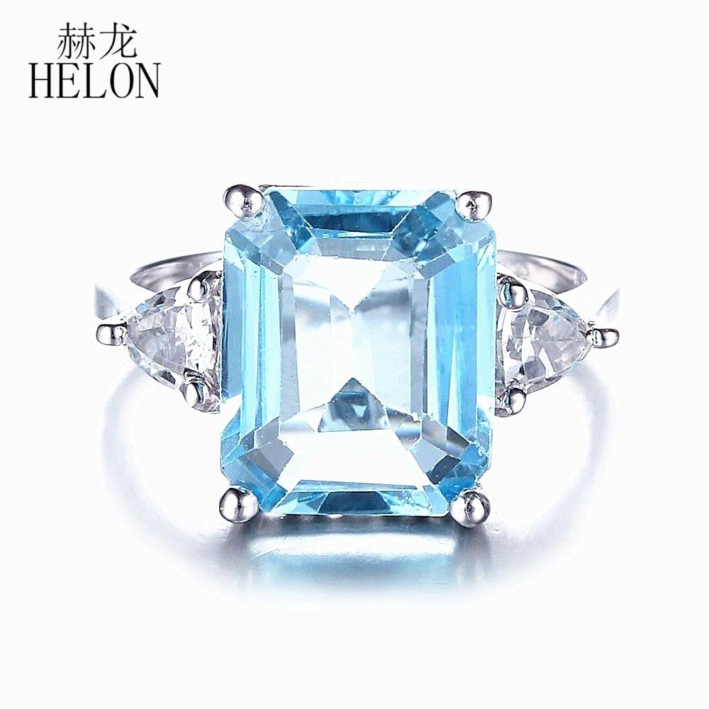 HELON 7.2ct topaze bleue naturelle et bague topaze blanche 925 bague en argent Sterling pour les femmes de fiançailles de mariage bijoux uniques