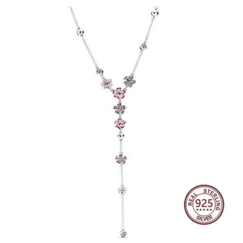 Fleur de pêche série 925 collier en argent 398074 NCCMX longue chaîne rose rose or pandoras pour femmes de haute qualité original