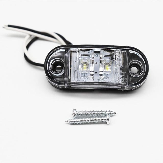 2Pcs 12V / 24V LED Side Marker Lights Car External Lights Warning Tail Light Auto Trailer Truck Lorry Lamps White color 1