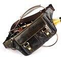 Vintage bolsas couro Moda hombre pequeño cintura viajes riñonera de cuero genuino bolsos de la carpeta para los hombres Envío gratis