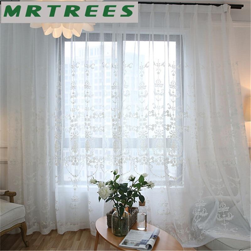 MRTREES Modern Bordir Tirai Jendela Tulle Tirai untuk Ruang Tamu - Tekstil rumah