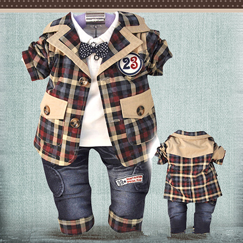 ФОТО Anlencool Free Shipping Newborn Baby Clothes Set Pose Infants Valley Korean Version Boys Plaid Leisure Suit New Spring Models