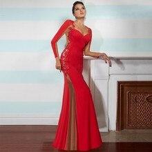 Appliques Mermaid Lange Abendkleider V-ausschnitt Durchsichtig Zurück Langarm Schwarze Formale Abendkleider Bodenlangen Robe De Soire